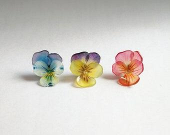 Shrink Plastic Pansy Earrings.Jewelry.Pansies.Flower Earrings