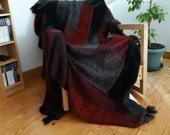 DARK FOREST- knitted handmade wool afghan-Knitted wool quilt-Quilted afghan-Knitted wool blanket-Wool quilted bed cover-Wool handmade throw