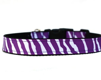 1 Inch Wide Dog Collar with Adjustable Buckle or Martingale in Zebra