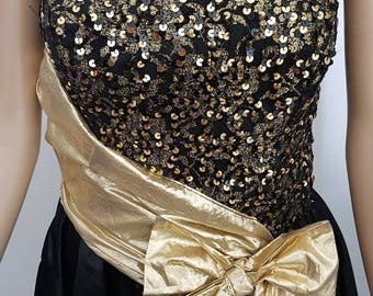 Beautiful Classic 1980s Gold/Black Prom Party Dress Size Approx 8/10