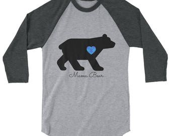 Mama Bear, Blue Heart with Blue on Blue Puzzle Pieces, 3/4 sleeve raglan shirt