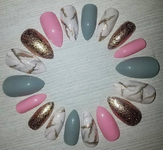 Pink Marble Stiletto Nails Fake Press On Glue