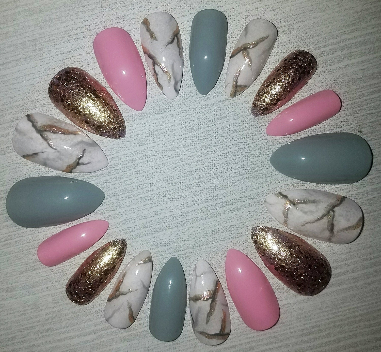 Pink Marble Stiletto Nails- Fake Nails- Press on Nails- Glue on ...