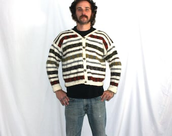 Vintage 60s Hand Knit Button Up Cardigan Wool Sweater. Fall Colors Striped Sweater. Small Retro Button Up Sweater.