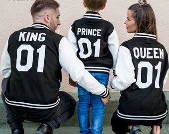 College Jackets, King Queen Prince Jackets,  Pocket crown, Letter Jackets, Kids Letter Jackets, Family Matching Outfits, UNISEX