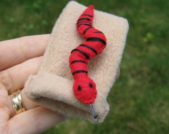 Red snake miniature felt plushie stuffed animal-sleeping bag -playset-black stripe- handmade- gift for him- birthday gift- felt animals