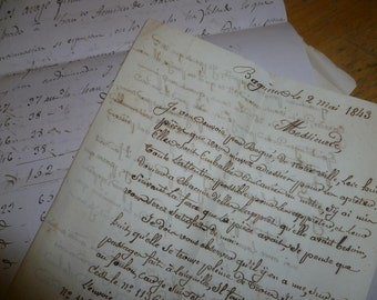 10 Antique Letters, French Dated 1843