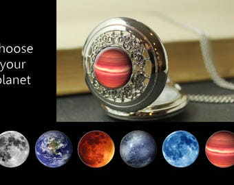 Custom Planet watch - Birthday or Anniversary Gift - Personalized Galaxy Watch - Moon Phase Jewelry - Galaxy, Outer Space