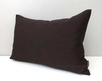 SALE, Dark Brown Outdoor Pillow Cover, Decorative Pillow Cover, Modern Sunbrella Cushion Cover, Walnut Brown Pillow Cover