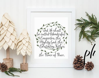 Isaiah 9:6, Wonderful Counselor, Mighty God,Everlasting Father,Christmas Calligraphy Print,Handlettered,Brush Lettering,Printable Homeschool