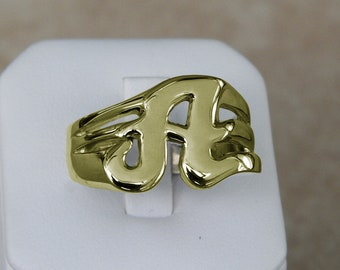 Classy Solid 14K Gold A Letter Name Initial Signet Ring Mens Women a True Beauty