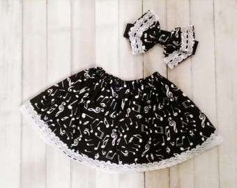 Black and White Musical Note Skirt