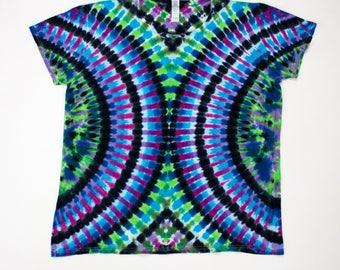 Women's XL Purple Green Cascading Ribs Tie Dye T-Shirt