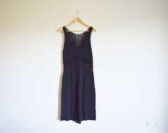 vintage 1990s black crochet midi summer dress