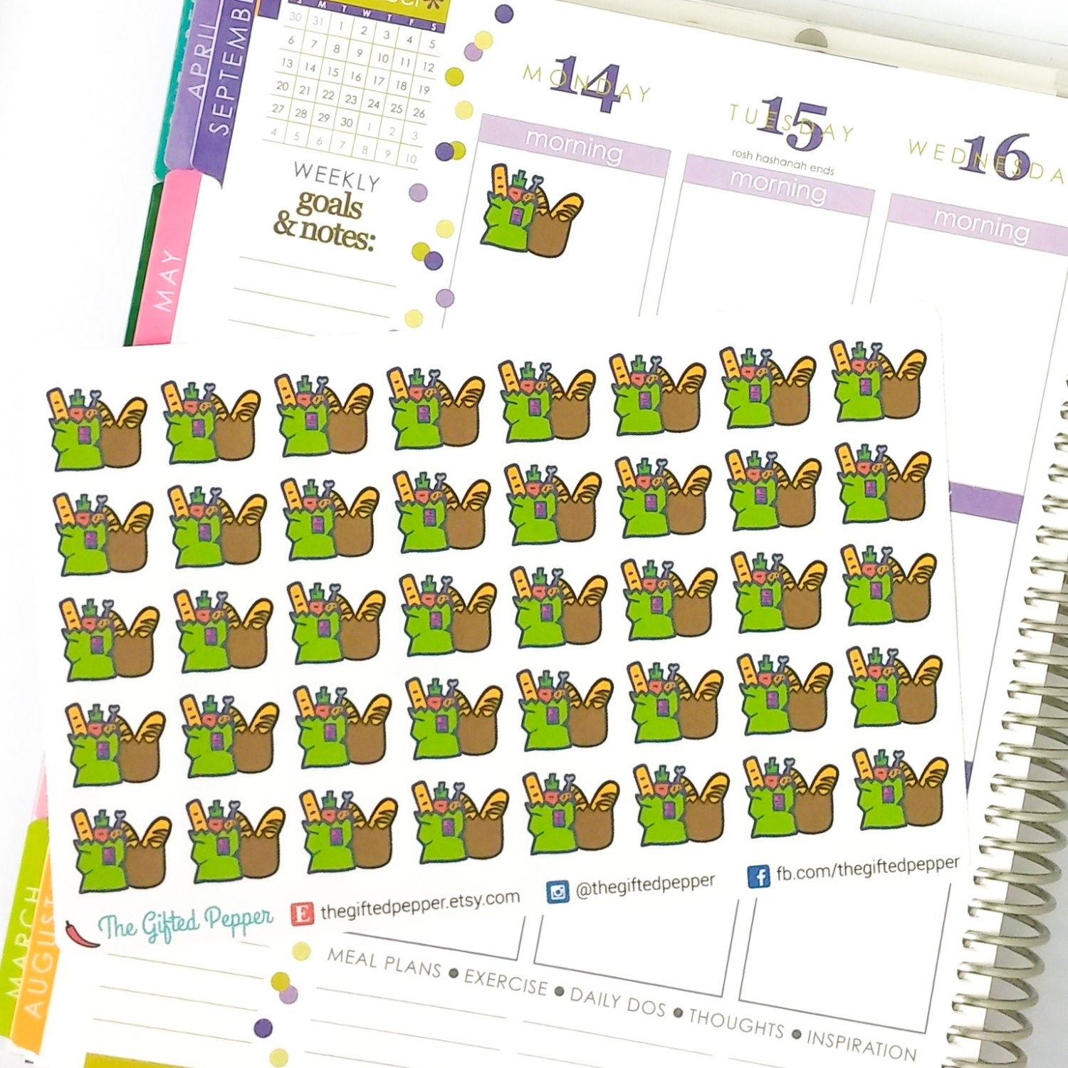 printed grocery stickers. for erin condren planner. stickers
