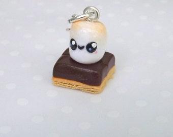 Smores Charm, Polymer Clay Charm, Stitch Marker, Food Charm,  Miniature Food Jewelry,  Kawaii, Planner Charm , Progress Keeper