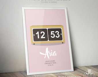 """Birthday gift • birth poster """"Time of birth"""" clock [to customize."""