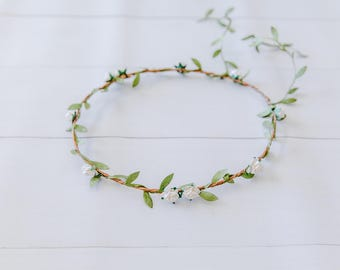 white hanging garden rose leaf hair wreath circlet // flower crown dainty whimsical romantic floral headpiece festival