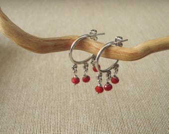 Beautiful STERLING SILVER .925 EARRINGS features a nice hoop made with drop red faceted beads.