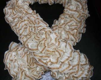 Hand knitted ruffle scarf lacy lightweight cozy female fashion accessory