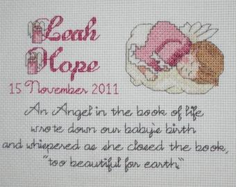 Cross-stitch Angel Baby Pattern