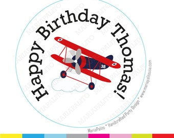 BiPlane stickers Party Personalized PRINTED round Stickers,Happy Birthday Plane tags, Labels or Envelope Seals  A930