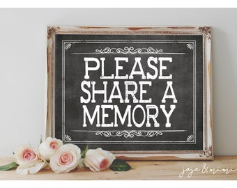Instant 'Please share a memory' Printable Sign Memory Jar Chalkboard Sign Size Options