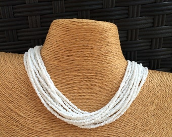 White beaded necklace, white seed bead multi-strand necklace, white bridesmaids, white necklace, bridesmaids necklace, white multi-strand