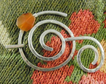 Hammered Shawl Pin Spiral with Genuine Carnelian