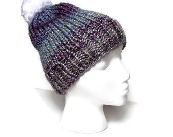 Pom Pom Beanie, Chunky Beanie, Hand Knit Beanie, Winter Hat, Purple Gray Beanie, Knitted Beanie, Wool Blend Beanie, Womens Beanie, Tyler Hat