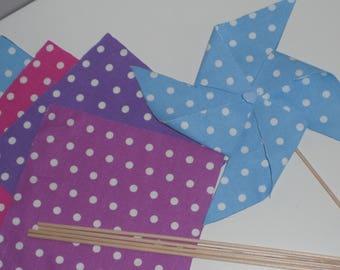 Kit pour 5 moulins à vent déco en tissu au choix