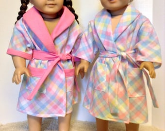 18 Inch Doll Robe, Warm and Cuddly Soft Pink, Blue and Yellow Plaid