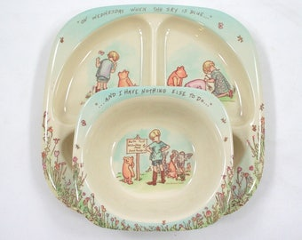 Vintage Winnie the Pooh Plate and Bowl Set