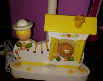 Vintage Nursery Lamp, No Shade, Old Woman Who Lived In A Shoe, Night Light and Lamp