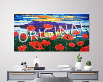 Alaska Mountain Large Oil Painting, Scott Clendaniel, Sleeping Lady, Susitna, Red Poppies Flowers, Green, Blue, Purple Painting, Anchorage