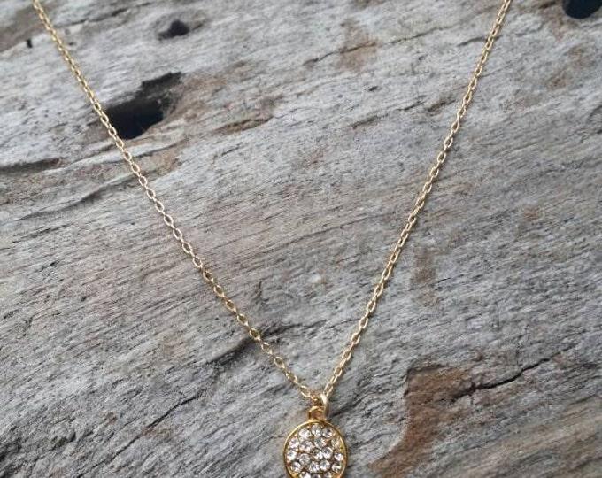 Tiny Gold Pave Charm Necklace, Tiny Gold Necklace, Pave Necklace, Dainty Necklace, Tiny Necklace, Bridal, Wedding, valentine