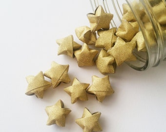48 Gold Origami Stars: Metallic Glitter - No Shed - Mini Stars - Star Decorations - Anniversary - Baby Shower - Gold - Wedding - New Year W