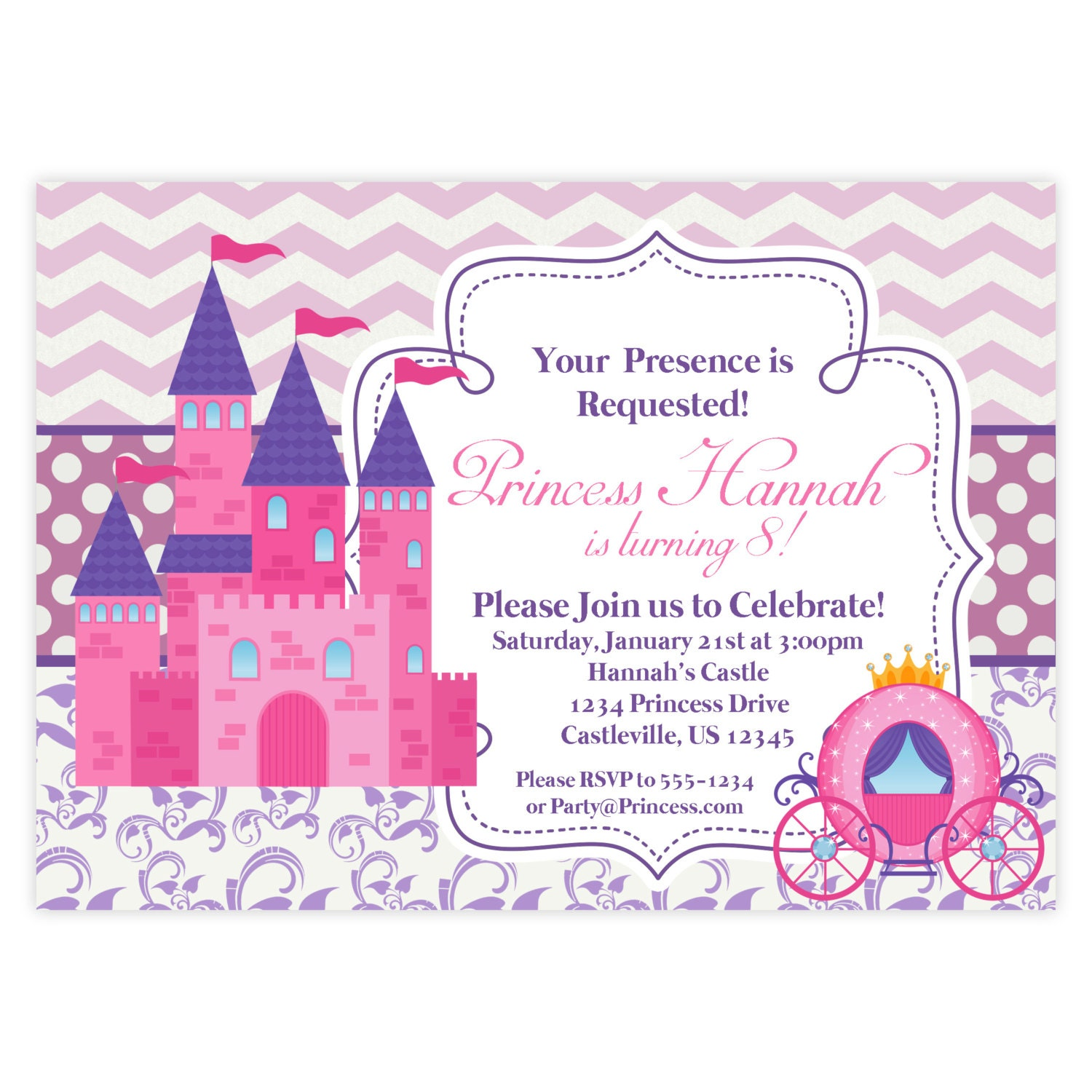 Princess Invitation Retro Pink Chevron Purple Damask Royal - Princess birthday invitation templates free