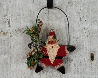 Santa Ornament, Primitive Santa Ornament, Primitive Christmas Ornament, Primitive Christmas, Painted Santa, Primitive Ornament, Country