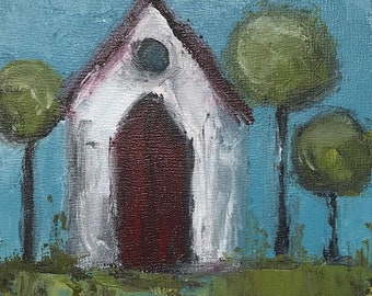 "Original painting ""Tiny White Chapel II """
