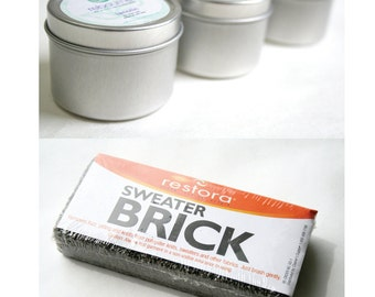 Wool Care Kit: 2 ounces of solid lanolin and a Sweater Brick for removing pills, lint and knots for wool diaper covers