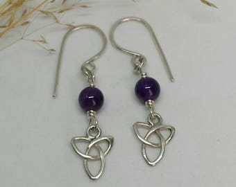 Sterling Silver Celtic Knot earrings with Amethyst Beads