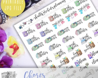 Functional Phrases for Chores – PRINTABLE Planner Stickers for Erin Condren, Happy Planner, Personal-Sized Planners, etc
