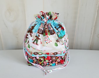 Sock Project Bag: Gingerbread Holiday Fun