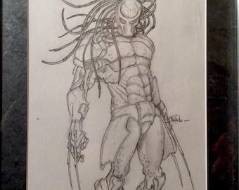 Predator framed sketch 14x11