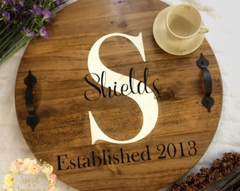 Personalized Serving Tray, Serving Tray, Personalized Wedding Gift, Wooden Breakfast in Bed Tray, Anniversary Tray, Personalized Wood Tray