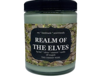 Fig Leaf Candle, Realm Of The Elves, Elf Candle, Book Candle, Wizard Candle, Scented Candle, Soy Candle, Book Lover Gift, Nerdy Candle, Soy