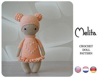 Crochet doll pattern - Melita by ZyZu Line Design - Amigurumi Doll with bobble stitch - Crochet DIY Craft Projects - crochet toy pattern