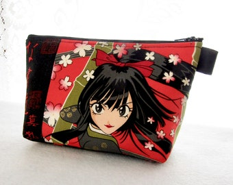 OOAK Thunder Flower Fabric Large Cosmetic Bag Zipper Pouch Padded Makeup Bag Zip Pouch Alexander Henry Girl Power Japanese Anime Red Black