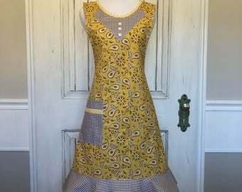 Yellow paisley with vintage check flare